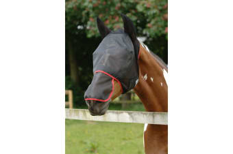 Equilibrium Field Relief Max Horse And Donkey Fly Mask With Ears (Black/Red) (Donkey Small)