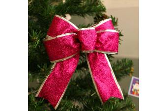 2x Christmas Glitter Bows Bowknot Door Window Wreath Tree Topper Xmas Decoration - Rose