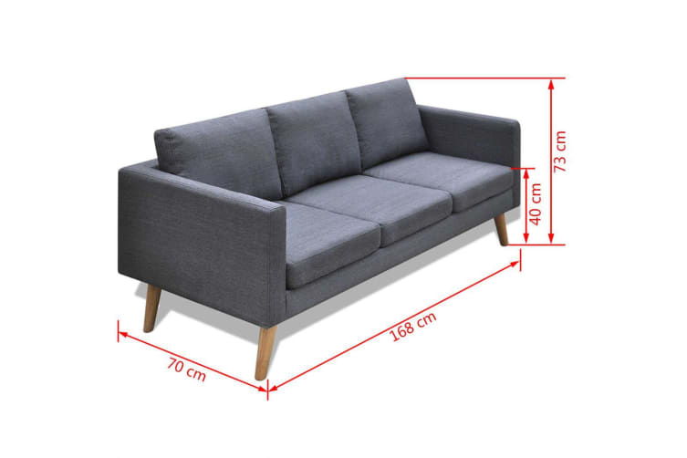 vidaXL Sofa 3-Seater Fabric Dark Grey