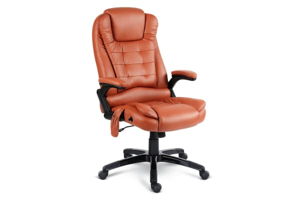 Pu Leather 8-point Massage Office Chair (Tan)