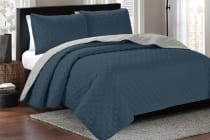 Ardor Boudoir Kingston Reversible Coverlet Set (Navy/Silver)