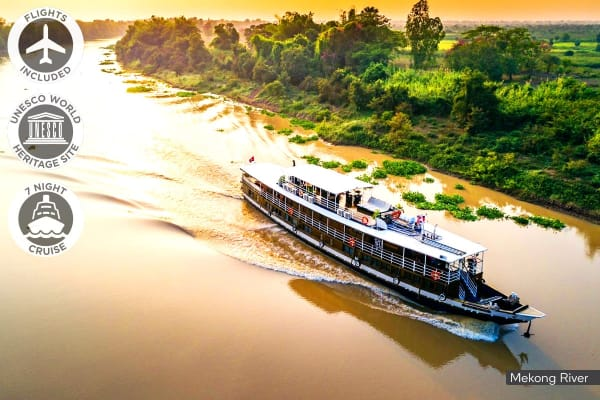 VIETNAM & CAMBODIA: 10 Day Luxury Mekong Delta Cruise Including Flights for One