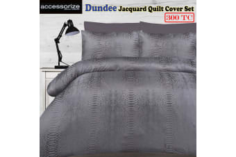 Dundee Silver Jacquard Quilt Cover Set KING