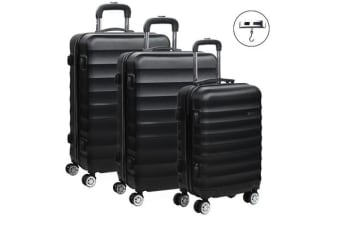 Wanderlite 3 Piece Luggage Trolley Set (Black)