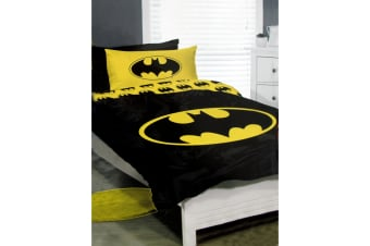 DC Comics Batman Logo Polyester Cotton Licensed Quilt Cover Set Queen