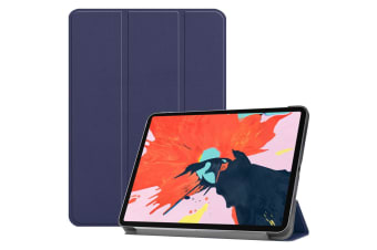 For iPad Pro 12.9 In (2018) Case PU Leather Folio Cover Dark Blue Karst Texture