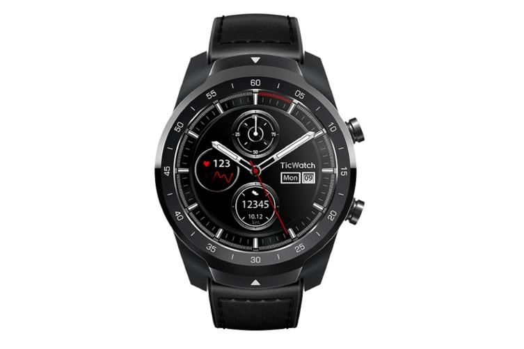 Ticwatch Pro Bluetooth Smart Watch IP68 Layered Display Wear OS by Google - Shadow Black