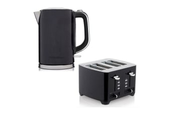 2pc Westinghouse 1.7L 2200W Cordless Kettle w/ 1750W Wide 4 Slice Toaster Black