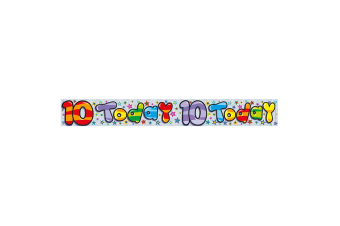 Expression Factory Childrens/Kids Holographic 10 Today Foil Birthday Banner (Multicoloured)
