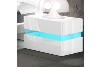 Artiss Bedside Tables Drawers RGB LED Side Table White Gloss Nightstand Cabinet