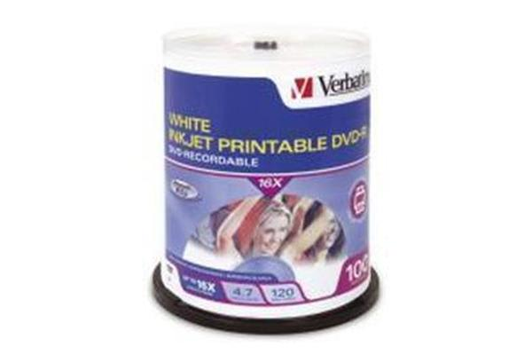 "Verbatim DVD-R 100Pk Spindle white InkJet Printable 4.7GB 16x """"Great product"