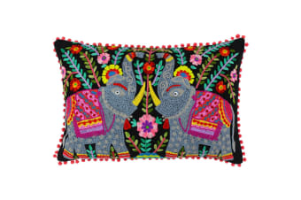 Paoletti Neon Elephants Cushion Cover (Black/Neon)