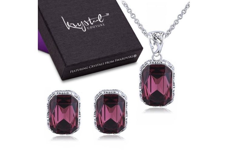 Majestic Emerald Ruby Necklace & Earrings Boxed Set