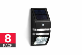 8 Pack Solar Wall Mounted Motion Sensor Light (Black)