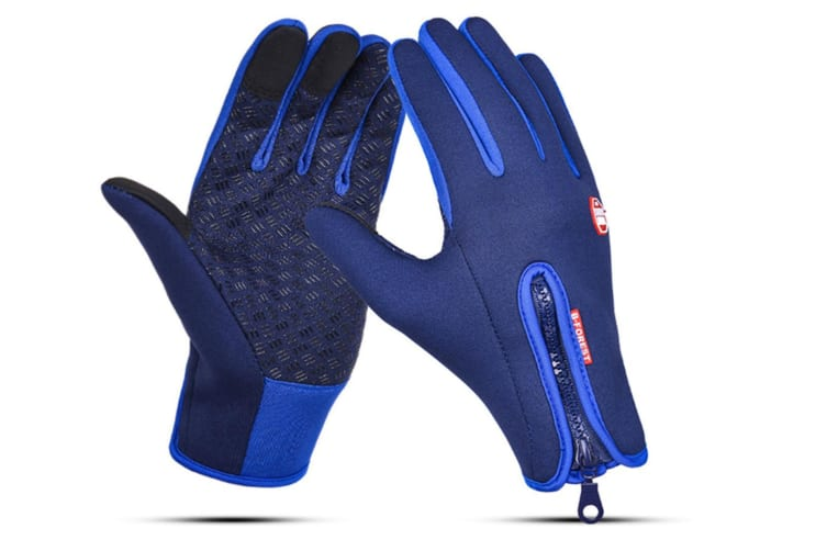 Outdoor Sport Gloves For Men And Women Skiing With Cold-Proof Touch Screen - 5 Blue M