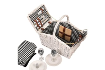 Deluxe 2/4 Person Picnic Basket Baskets Set Outdoor Corporate Blanket Park Trip  -  A