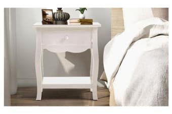 Vintage Style Bedside Table Storage Nightstand White