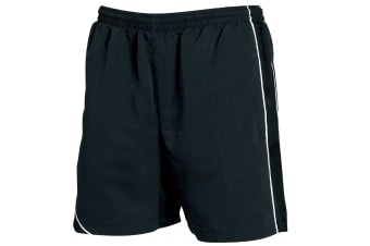 Tombo Teamsport Mens Lined Performance Sports Shorts (Black/Black/ White Piping)