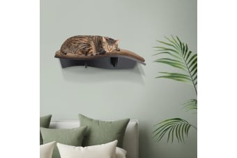 Petscene Cat Perch Contoured Cat Bed Wall Mounted with Wool Cover