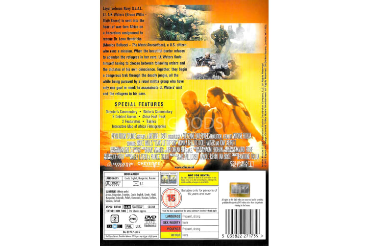 Tears of the Sun - Region 2 Rare- Aus Stock DVD Preowned: Excellent Condition