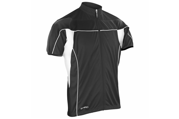 Spiro Mens Bikewear / Cycling 1/4 Zip Cool-Dry Performance Fleece Top / Light Jacket (Black/Black) (XL)