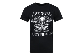 Avenged Sevenfold Official Mens Skull T-Shirt (Black) (S)