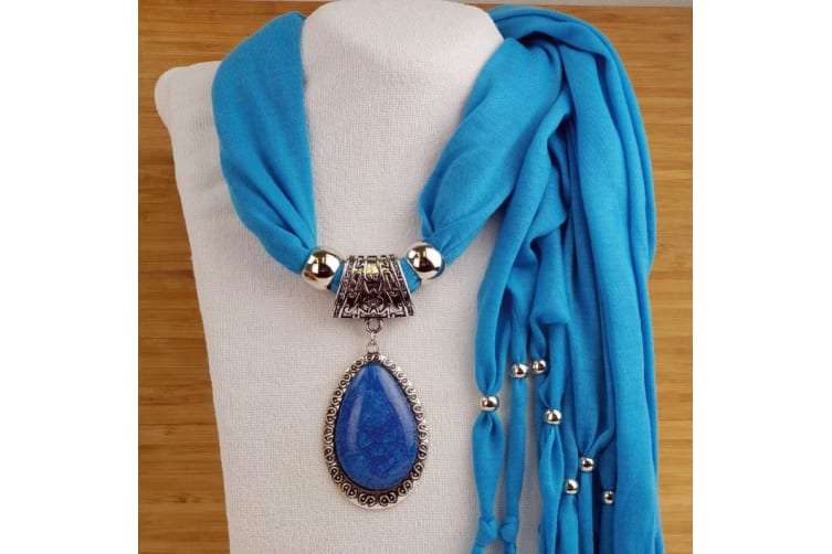Blue Jersey Scarf with Pendant in Personalised Box- Birthday