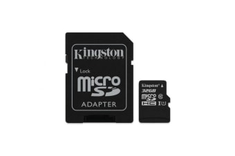 Kingston 32GB microSDHC Canvas Select 80R CL10 UHS-I Card + SD Adapter - SDCS/32GB