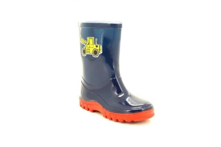 StormWells Boys Puddle Digger Wellingtons (Navy Blue/Red) (5 UK)