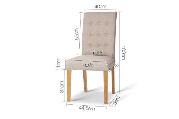 Set of 2 Fabric Dining Chair (Beige)