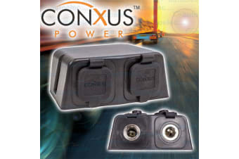 CONXUS DUAL TWIN HELLA MERIT SOCKETS SURFACE DASH MOUNT TWO 2 12V VOLT DS-DD04