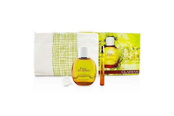 Clarins Eau Des Jardins Coffret: Fragrance Spray 100ml/3.3oz + Refillable Spray 10ml/0.3oz + Refill Funnel + Bag (3pcs+1bag)