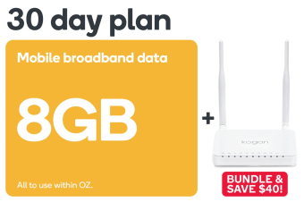 Kogan Mobile Broadband Bundle: 4G Modem Router & 30 Day DATA S Voucher Code (8GB)
