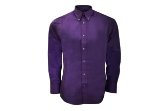 Kustom Kit Mens Long Sleeve Tailored Fit Premium Oxford Shirt (Dark Purple) (17.5inch)