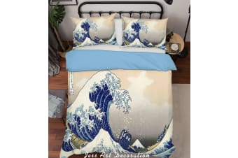 3D Cartoon Blue Sea Waves Quilt Cover Set Bedding Set Pillowcases  218-Single