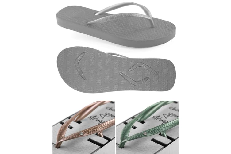 Women's Grey Slim Thongs with 2x Pairs of Interchangeable Green and Gold Diamante Straps Size 7/8