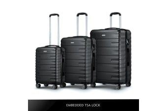 3 Pcs Luggage Suitcase Set Black Hard Shell ABS Case w/TSA Lock