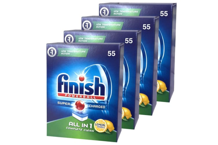 220PK Finish Tabs All in 1 Lemon Tablets Powerball Super Charged for Dishwasher