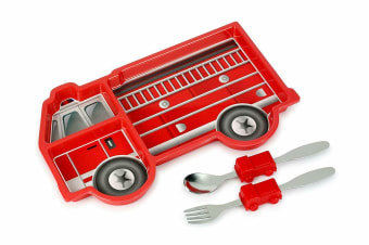 Kids Funwares Me Time Meal Set Spoon/Plate/Fork Fire Engine Children/Kids