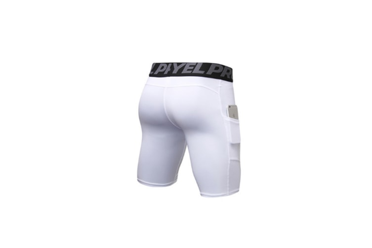 Men'S Compression Shorts Baselayer Cool Dry Sports Tights With Pocket - White White L