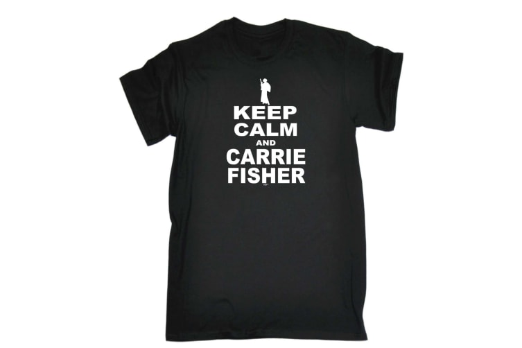 123T Funny Tee - Keep Calm Cand Carrie Fisher - (XX-Large Black Mens T Shirt)