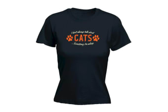123T Funny Tee - Talk About Cats - (XX-Large Black Womens T Shirt)