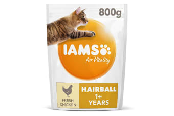 Iams Adult Vitality Hairball Chicken Complete Dry Cat Food (May Vary) (2kg)