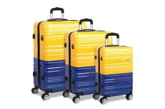 Set of 3 Premium Hard Shell Travel Luggage with TSA Lock (Yellow/Purple)