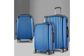 3pc Luggage Sets Suitcase Set TSA Scale Storage Organiser Blue