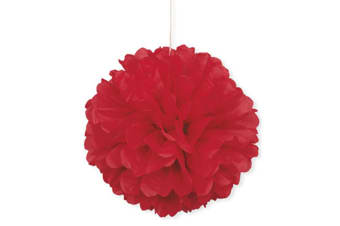 Unique Party Puff Balls Party Decoration (16in) (Red) (One Size)