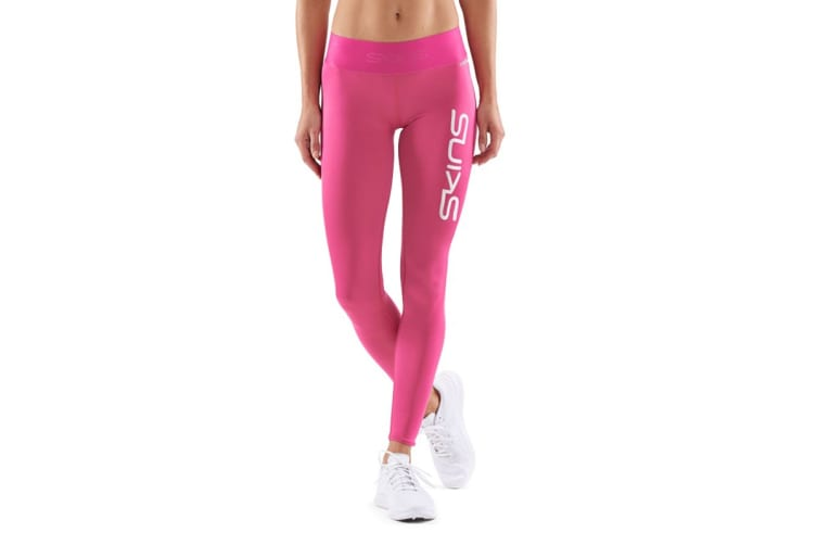 SKINS DNAmic Primary Women's Long Tights (Pink Logo, Size L)