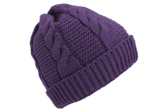 Ladies/Womens Cable Knit Fleece Lined Winter Beanie Hat (Purple) (One Size)