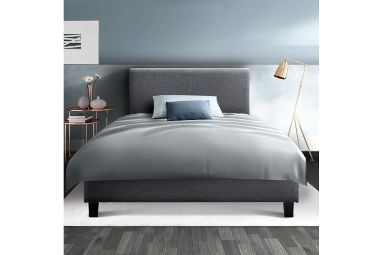 Single Size Bed Frame Base Mattress Platform Fabric Wooden Grey NEO
