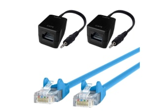 Male AUX 3.5mm Plug Stereo Audio Over Single RJ45 Cable CAT5 Extender w/5m Cable